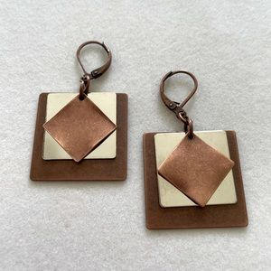 Layered Squares Earrings, NWT and Handmade